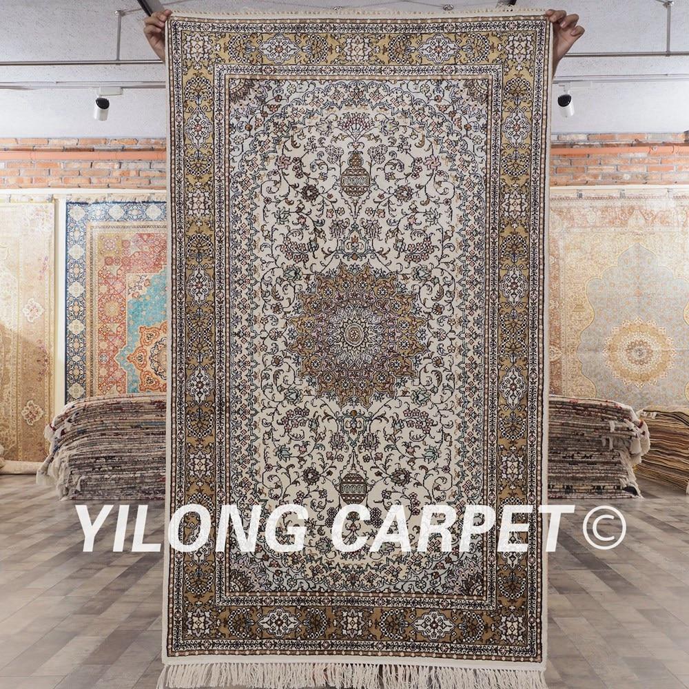 YILONG 3'x5' Antique tapis de soie persane noué à la main vert et beige persan tapis orientaux (YHW302AB3x5)