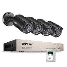 ZOSI домашние системы безопасности 4CH HD-TVI 1080N DVR 4 шт. 1280TVL 720 P Ночного Видения Наружного Наблюдения Водонепроницаемый Камера комплекты