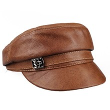 Leather hat female winter Korean version of the leather cap student flat top Beret naval men and women