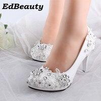 Plus size 34-40 fashion lace wedding shoes white for women handmade bridal shoe comfortable heel platforms brides shoes