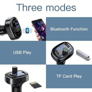 Image 3 - Baseus Lcd scherm Fm zender Autolader Dual Usb Telefoon Oplader Handsfree Bluetooth MP3 Speler, geboren Te Luisteren Muziek In Auto