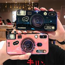 Blue Ray 3D Retro Camera Phone Case For iphone 5 5S SE 6 7 8 Plus X XR XS Max Cover Luxury IMD Capa Lanyard and Kickstand Funda