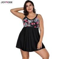 JOYMODE 2018 Swimsuit Women Swimwear Plus Size One Pieces Floral Printed With Black Skirt Retro Vintage