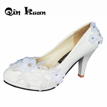 Women White Wedding High Heels Pumps Shoes Rhinestone Flowers Ladies  Hanmade Customize Bridal Shoes Plus Size 591d2afa9296