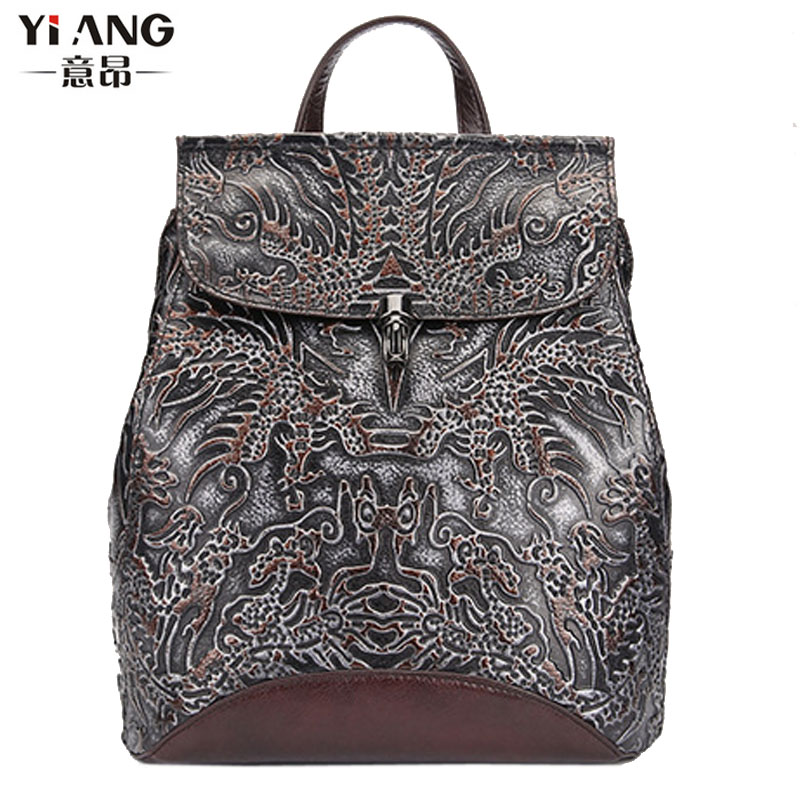Women Vintage Top Quality Genuine Leather Cowhide Embossed Backpack Pack Clutch Bag Student package travel package Hand bags top readers railway children student s pack incl glossary cd