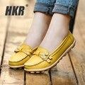 HKR mulheres flats sapatos de couro genuíno ballet flats enfermeira mãe sapatos Slip-on dedo do pé redondo bailarina flats loafers para mulheres 1188