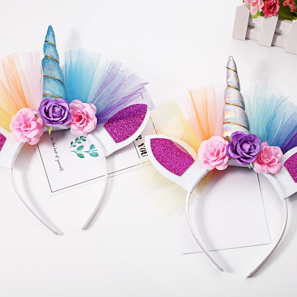 1PCS Glitter Hairband Easter Bonus For Party DIY Hair Accessoriess Rainbow  Unicorn Horn Hairband Kids Chiffon Unicorn Headband ac227ecff1c3