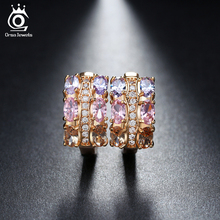 ORSA JEWELS Gold - color Unique Stud Earrings with Multicolor AAA Zircon Stone Nickel Cadmium free Jewelry OME28