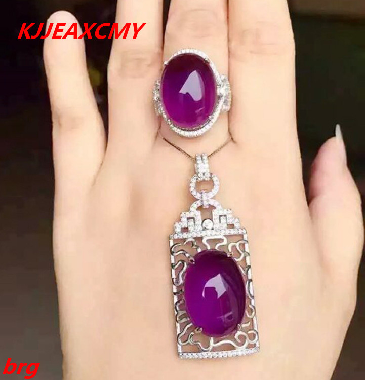 KJJEAXCMY Fine jewelry, 925 sterling silver plated white gold ring pendant deep amethyst necklace set ladies two-piece suit stylish ladies pendant silver plated necklace