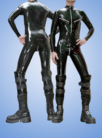 Rubber Suit Fetish Sexy Uniform Latex Men Catsuits Latex leotard with front zipper and crotch zipper and the bust zipper