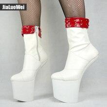 Jialuowei New  Special Platform Hoof Heels Mid-Calf boots Decoration Comfortable heelless dance platform boots Match Color Block