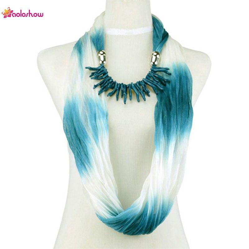 AOLOSHOW Women jewelry nscarf coral charms jewelry infinity circle endless chiffon scarf jewelry necklace scarf female NL-1987