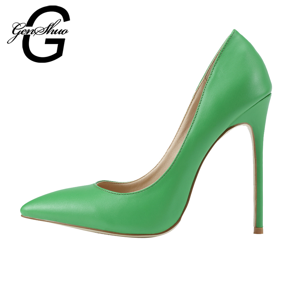GENSHUO Spring Geen Elegant Women Pumps High Heels Pointed Toe Sexy Women Shoes Soft Women Shoes For Lady High Heel Office Shoes 2017 brand spring summer solid concise pumps sexy lady super high heel luxury women shoes flock pointed toe mature lady pumps