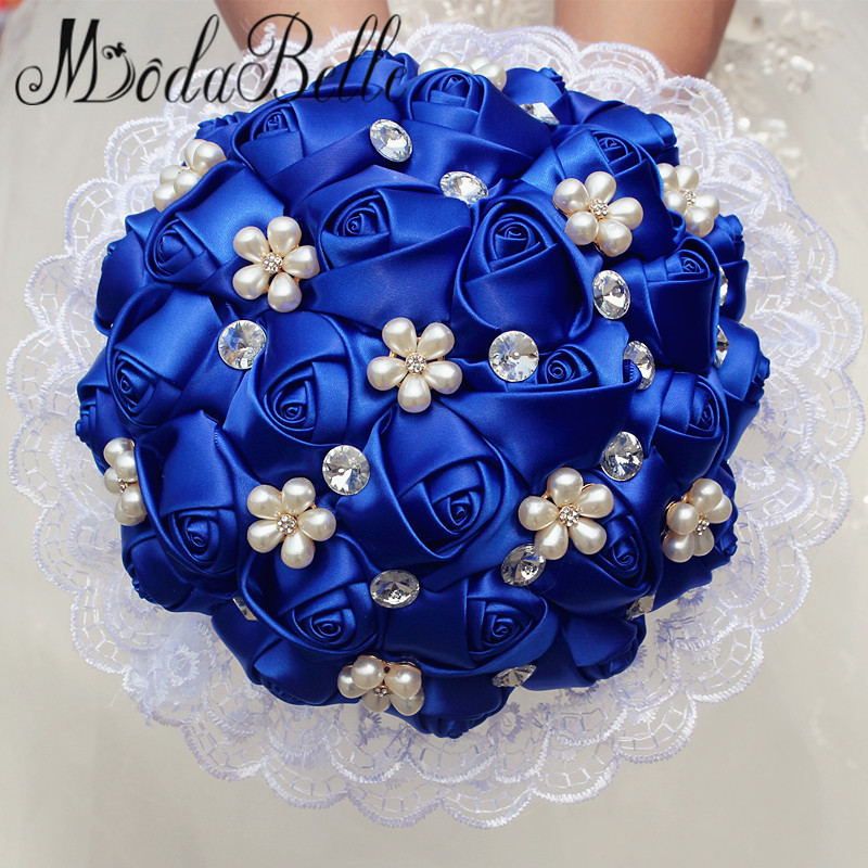 Modabelle Custom Rose Satin Royal Blue Wedding Bouquets