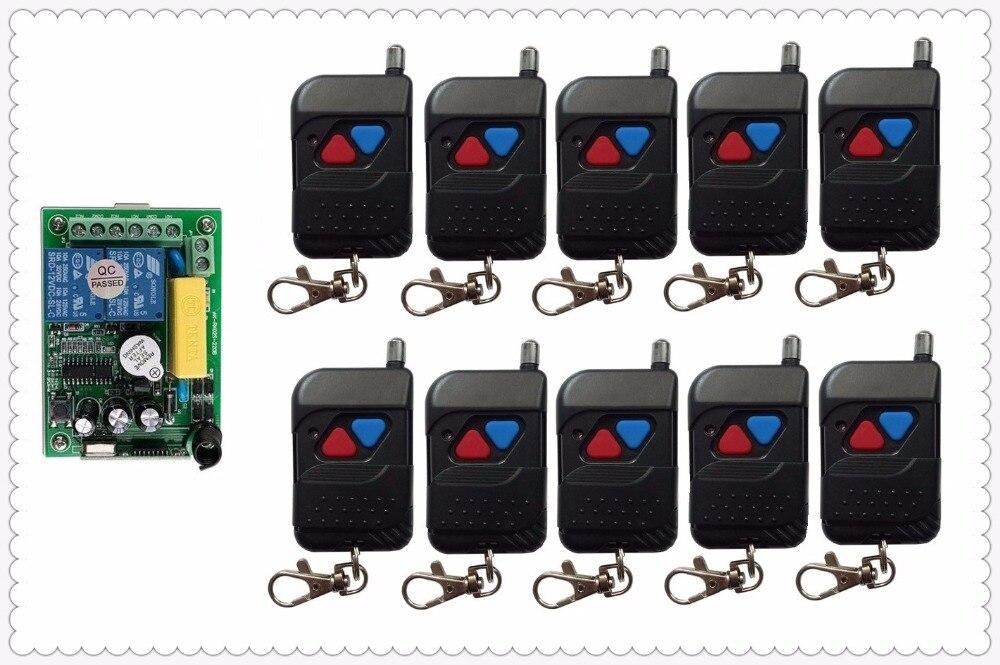 AC220V 2CH Télécommande Sans Fil Commutateur Système télérupteur 1 * Récepteur + 10 * noir Émetteurs pour Appareils Porte Garage porte