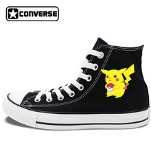 Skateboarding Shoes Design Black White Colors High Top Converse Chuck Taylor Pokemon Pikachu Unisex Canvas Sneakers