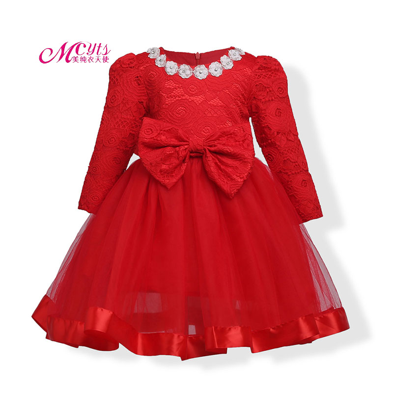 Red Baby Girls Dress Children Long Sleeves Party Wedding Christmas Princess Dresses Girls Ball Gown Vestidos 4 5 6 7 8 9 10 Year new year flowers flower dresses for wedding party baby girls christmas party princess clothing children summer dresses