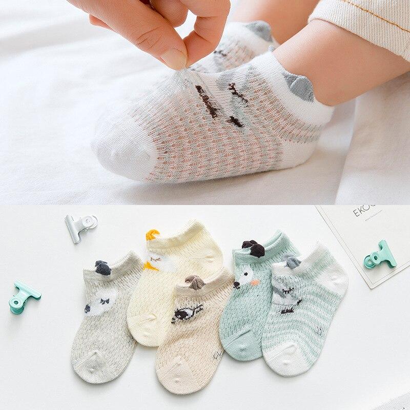 5 шт./компл., новые летние носки в сеточку детские дышащие носки с рисунками для детей 0-12 месячный ребенок носки