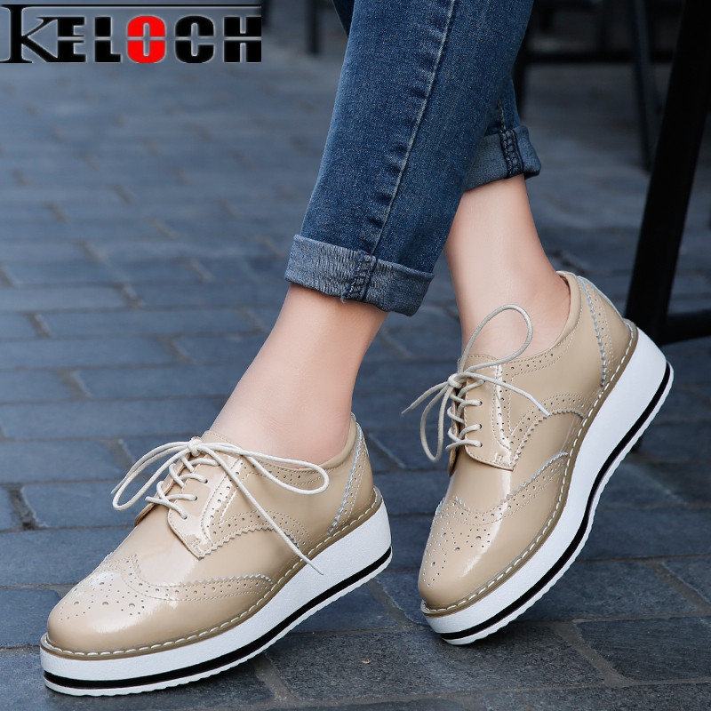 Keloch New Women oxfords Flats Platform shoes Patent Leather Female Creepers Ladies black White Brogue Moccasins Chaussure Femme fashion women flats summer leather creepers platform sneakers causal shoes solid basket femme white black