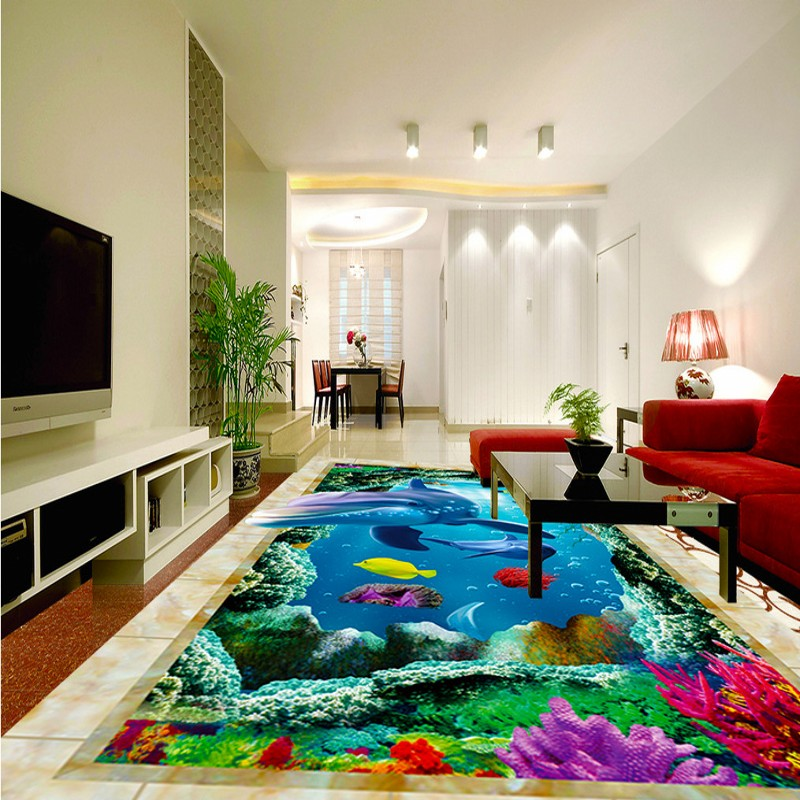 Free Shipping HD 3D marine world dolphin floor painting self-adhesive waterproof living room bedroom bathroom flooring mural free shipping marble texture parquet flooring 3d floor home decoration self adhesive mural baby room bedroom wallpaper mural