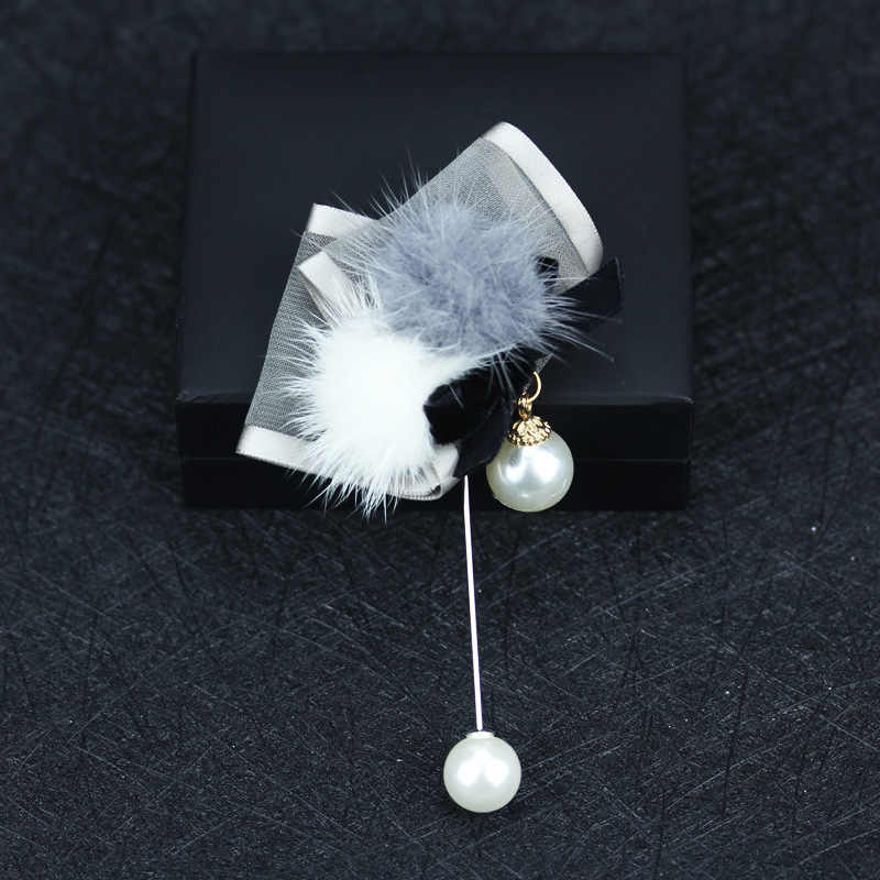 I-Remiel Новая высококачественная ткань жемчуг цветок меховая брошь из шариков для женщин Женский свитер пальто заколки для платья и броши на лацкан