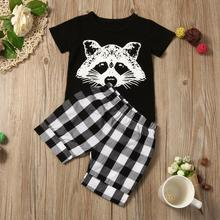 Baby Boy Girls Clothing Set Toddler Baby Boy Fox Tshirt Tops Plaid Shorts Pants Outfits Clothes Casual Infant Cotton Suit D30