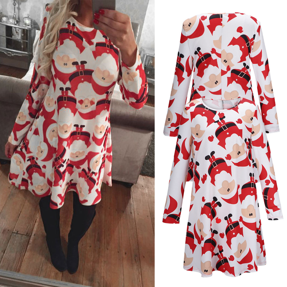 olaf boho chic ladies women christmas dress santa claus print dress costumn red tunic swing dresses casual loose long baggy tops in dresses from womens
