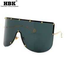HBK Huge Black Shield Sunglasses Trendy 2019 Women Luxury St