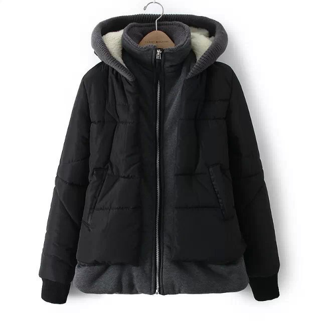 2016 Fall Winter New fashion women Down Jacket Loose Big yards Leisure Thicken Keep Warm Hooded Fake Two Piece Cotton Coat G1076