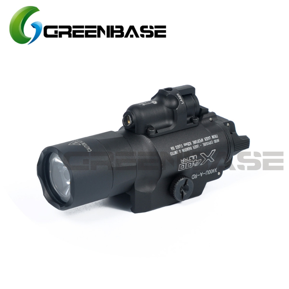 Greenbase SF X400 Series X400U Weapon Light Tactical Hunting Flashlight With Red Laser Sight For Rifle Scope For Pistol Airsoft peq15 la5 airsoft spotlight weapon shotguns light tactical flashlight military red dot ir laser pistol lanterna rifle lights