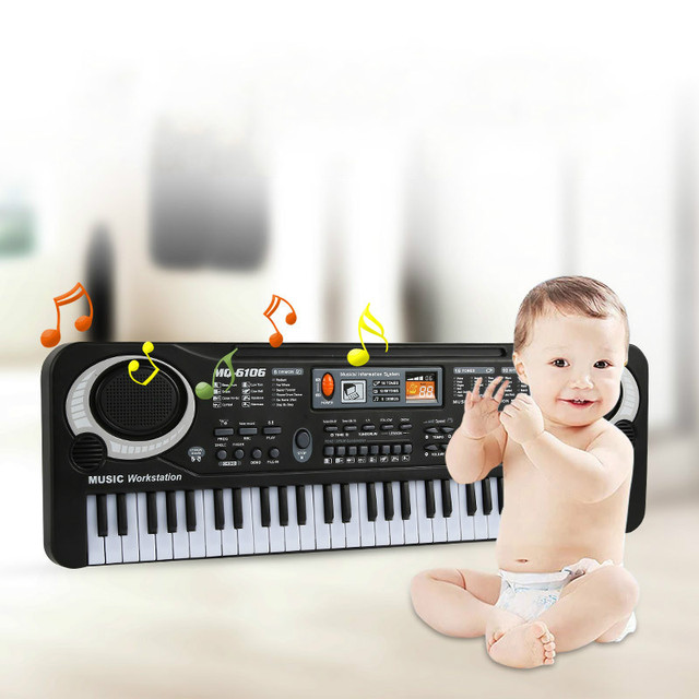 61 Keys Electronic Piano Keyboard with Microphone Toys Kids Early LearningToy Musical Instrument Educational  Organ Music Toys 3