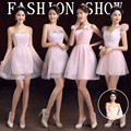 4 Styles Cute V-Neck Short Blush Pink Bridesmaid Dresses/Blush Pink Wedding Party Dress/cheap bridesmaid dresses under 50