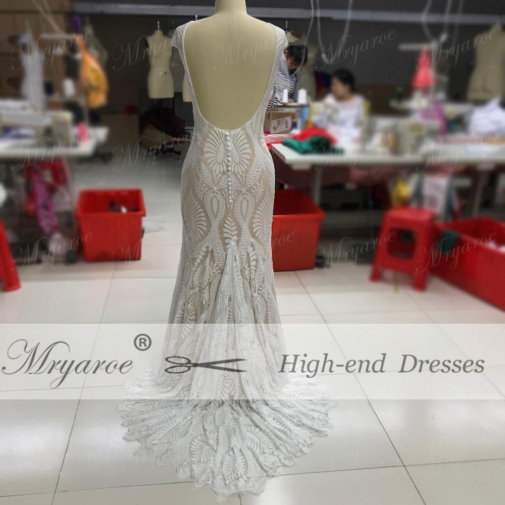 Mryarce Unique Lace Bohemian Wedding Dress With Cap Sleeves Open Back Mermaid Boho Bridal Gowns