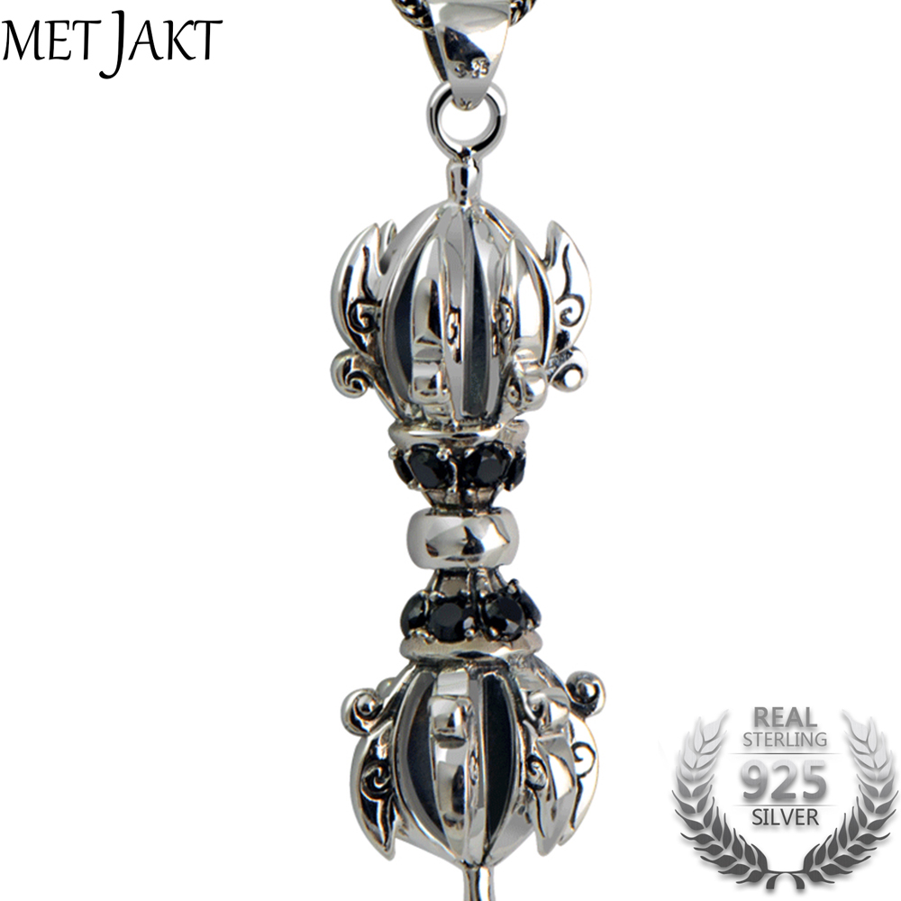 MetJakt Vintage Buddhism Vajra Pendant with Obsidian and Snake Chain Solid 925 Sterling Silver Men's Lucky Peace Jewelry metjakt punk buddhism 925 sterling silver peace pendant necklace and snake chain unisex exorcise evil spirits jewelry