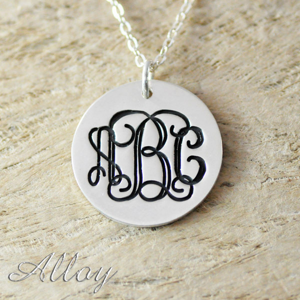 Alloy necklace,custom Circle Monogram necklace,monogram Initials necklace Hand Stamped