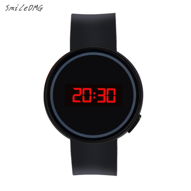 SmileOMG Hot Sale Fashion Men Women Watch LED Touch Screen Date Silicone Wrist Black Watch Free