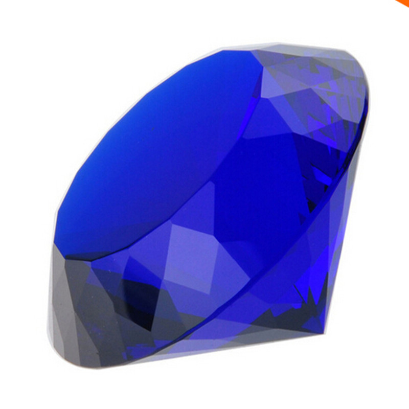 100mm Blue Shining Crystal Diamond Paperweight Crystal Souvenir For Wedding Decor Sweet Gift For Lovers 1pcs