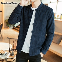 2019 cotton traditional chinese tang suit top clothes men long sleeve kung fu tai uniform shirt blouse coat