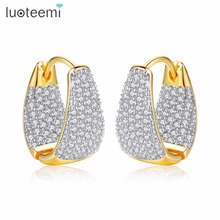 LUOTEEMI Grace Refinement Mote Vogue Gull Farge Clear Stud Øredobber Paved Micro AAA Cubic Zircon Ear Hoop Smykker For Women