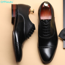 QYFCIOUFU New Genuine Leather Wingtip Italian Formal Shoes Men Dress Brand Pointed Toe Lace-up Wedding Office