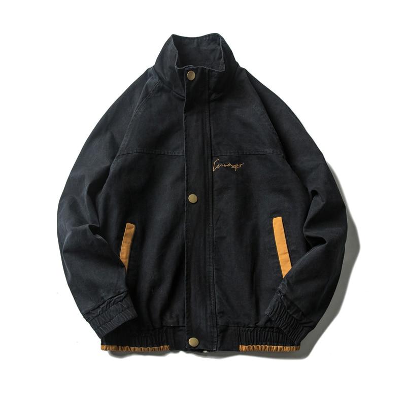Men  Jackets For Men Black Collar jacket Collar Outerwear jean jacket men Slim Fit Casual With Pockets
