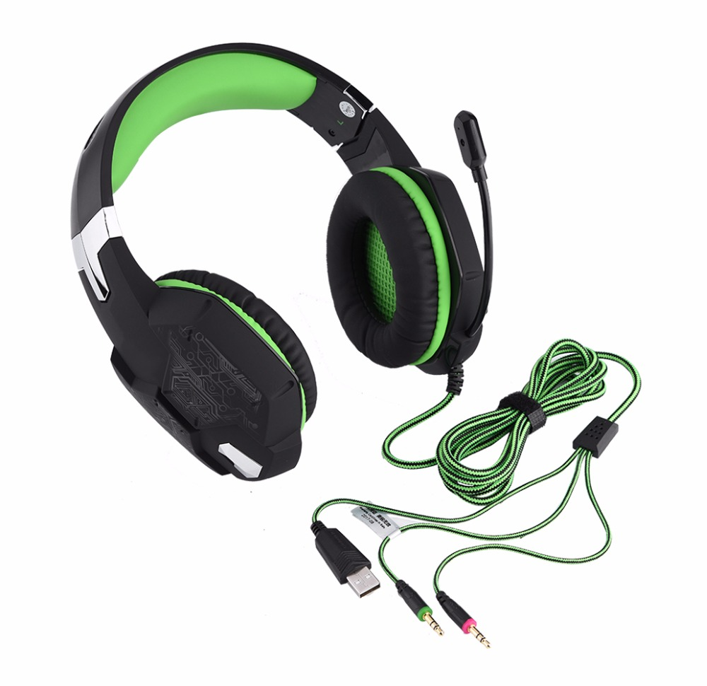 Headphone Stereo Game Gaming Active Noise Cancelling Wired Green Headset LED Light Over Ear Headphones With Mic For Xbox Headset anc wireless bluetooth headphones active noise cancelling folable headset with rotal design over ear headphone fone de ouvido