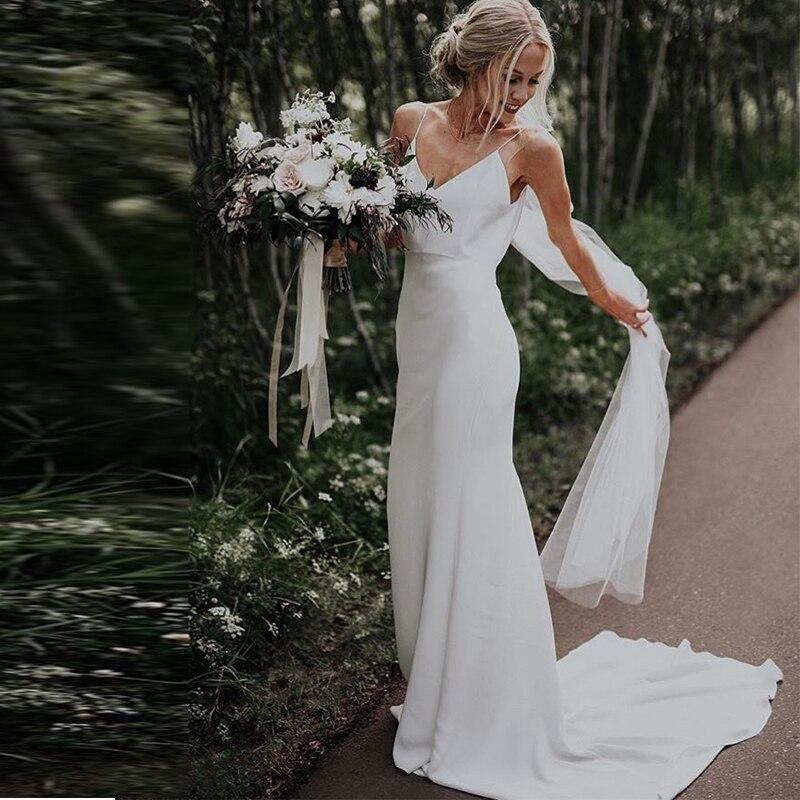 Simple V-neck Beach Sleeveless Satin Boho Wedding Gowns Chapel Train White Ivory Spaghetti Straps prom Bridal Dresses