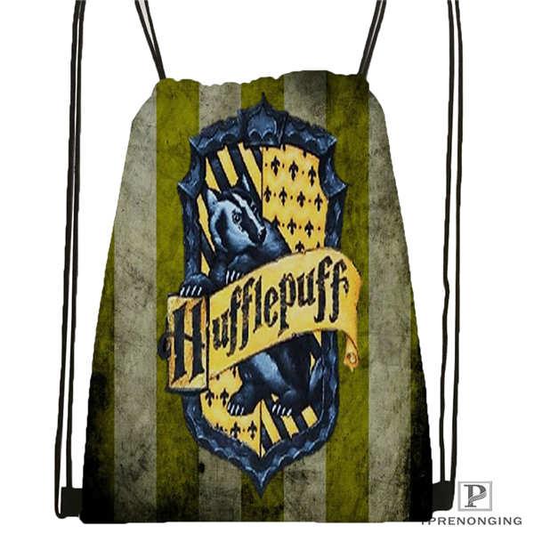 Custom Hufflepuff-Drawstring Backpack Bag Cute Daypack Kids Satchel (Black Back) 31x40cm#180611-03-127