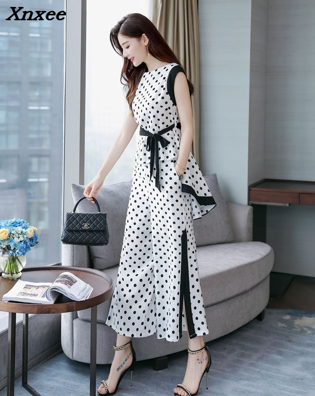 Polka Dot Two Piece Set Top And Pants Sleeveless Palazzo Pants Ensemble Femme Deux Pieces  Wide Leg Conjunto Feminino Woman Suit-in Women's Sets from Women's Clothing    2