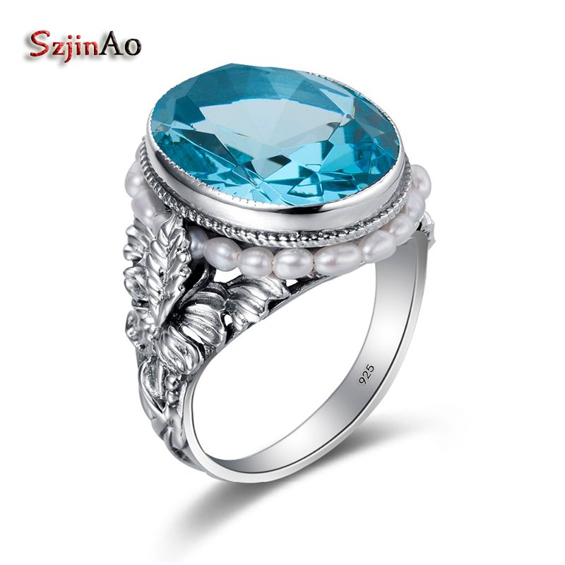 Szjinao Oval Natural Freshwater Pearls Aquamarine Silver Ring March Birthstone Big Stone Women Brand Bulgaria Jewelry Wholesale