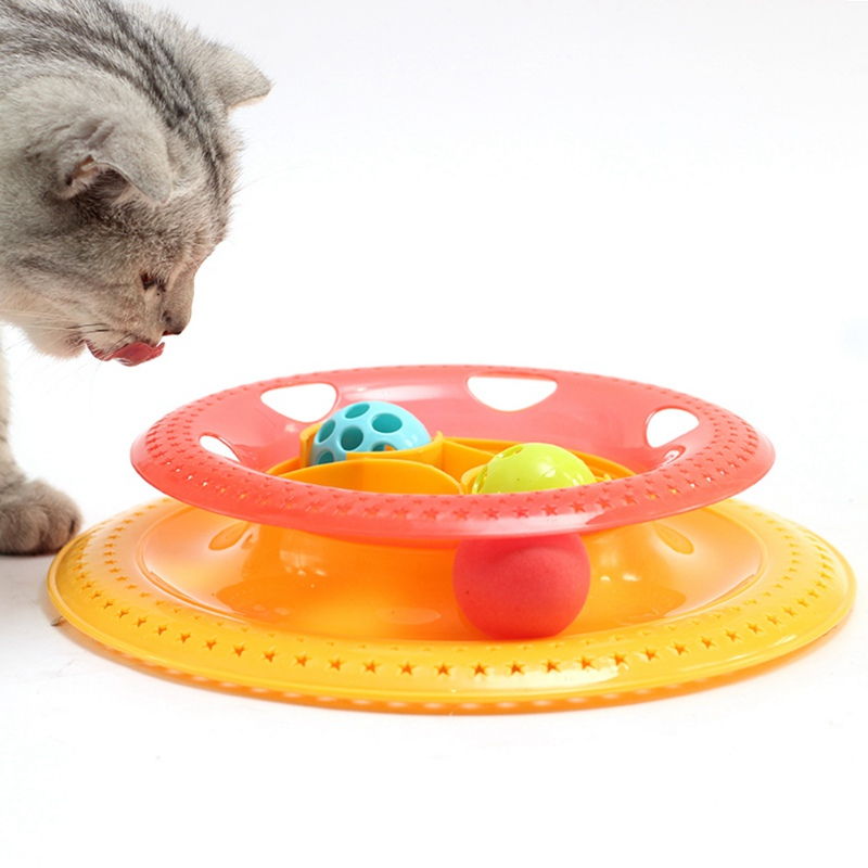 2018 Plastic Cat Feeders Tower Tracks Disc Cat Toy Amusement Shelf Play Station Pet Cats Triple Play Disc Ball Toys Jouet Chat
