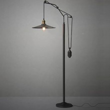 ФОТО Retro Black Metal Floor Lamp Vintage Industrial Lift Lighting fixture for living room bedroom bedside lamp