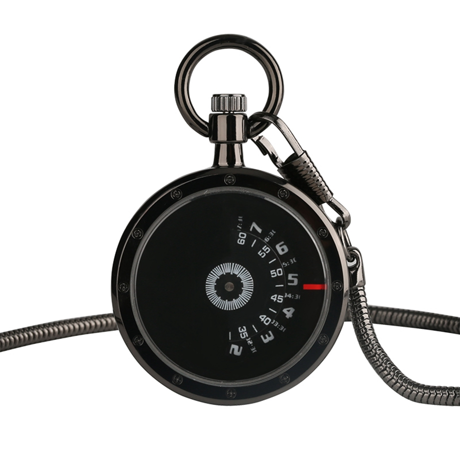 New Arrival Black Face Semi Circular Pocket Watch Serpentine With Waist Chain Cool Fashion Gift For Women Men Quartz Fob Watches