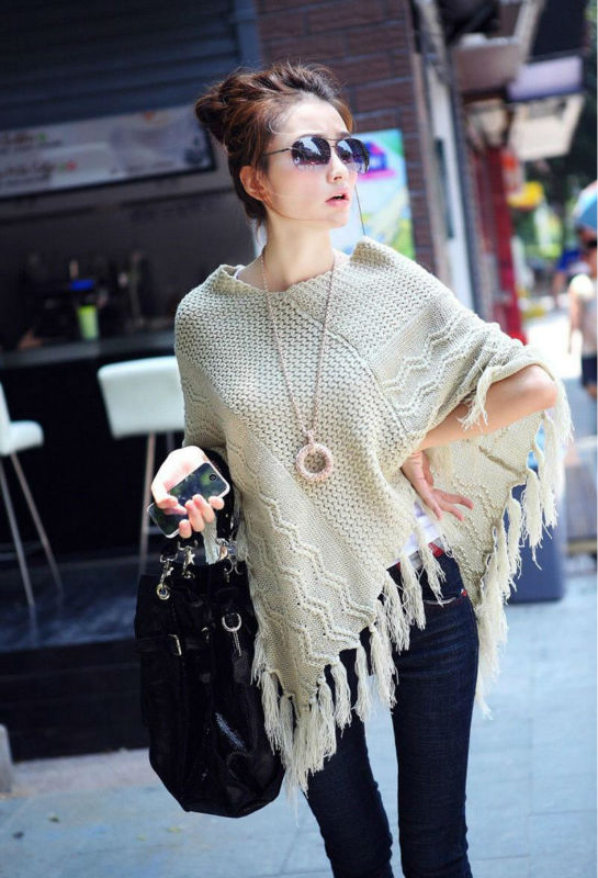 Spring 2019 New Womens Fashion Tassel Hollow Cape Poncho Cloak Sweaters For Ladies Loose Knitted Pullovers Knitwear Sweater